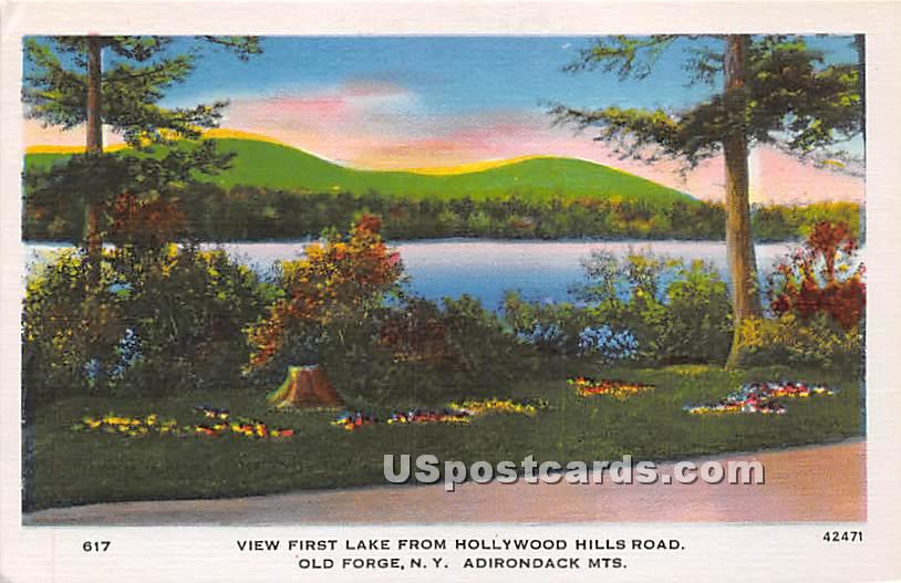First Lake, Hollywood Hills Road - Old Forge, New York NY Postcard