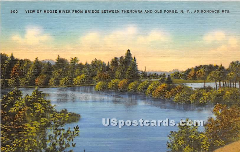 Moose River, Bridge - Old Forge, New York NY Postcard