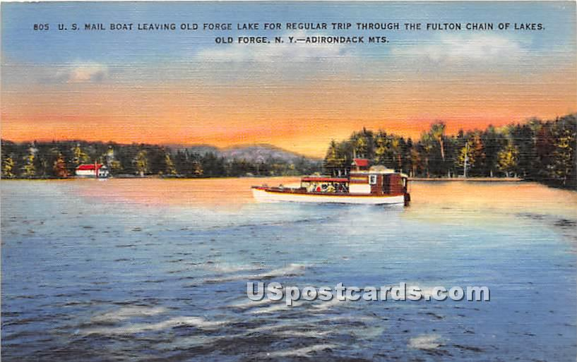 US Mail Boat, Old Forge Lake - New York NY Postcard
