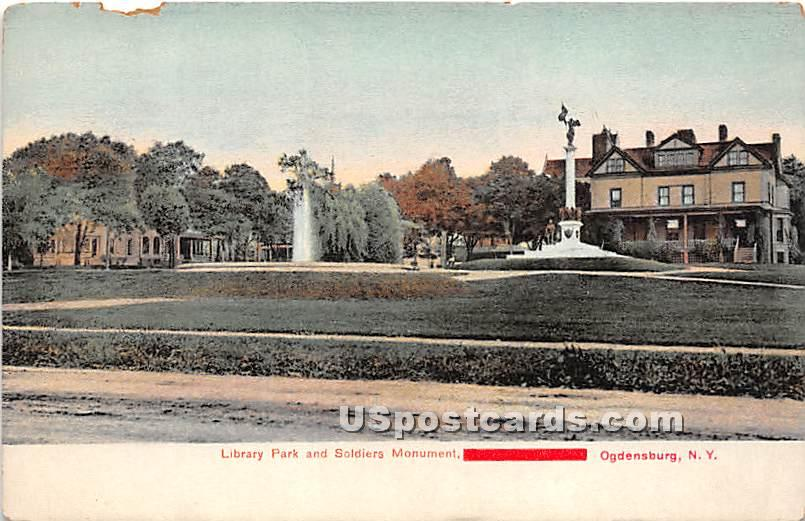 Library Park & Soldiers Monument - Ogdensburg, New York NY Postcard