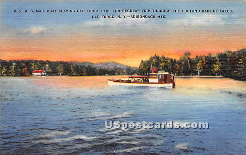 US Mail Boat Landing - Old Forge, New York NY Postcard