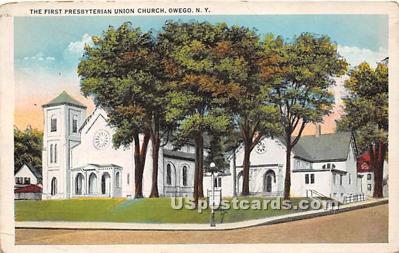 First Presbyterian Union Church - Owego, New York NY Postcard