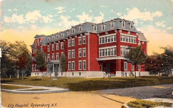 City Hospital Ogdensburg, New York Postcard