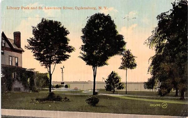 Library Park & St Lawrence River Ogdensburg, New York Postcard