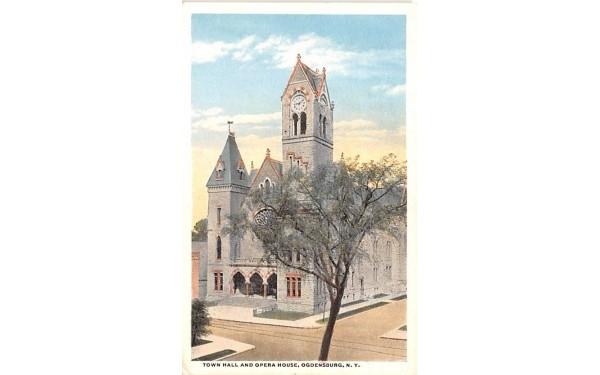 Town Hall & Opera House Ogdensburg, New York Postcard