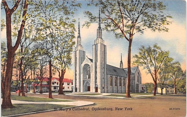 St Mary's Cathedral Ogdensburg, New York Postcard