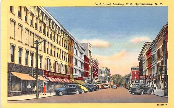 Ford Street Ogdensburg, New York Postcard