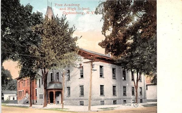 Free Academy & High School Ogdensburg, New York Postcard