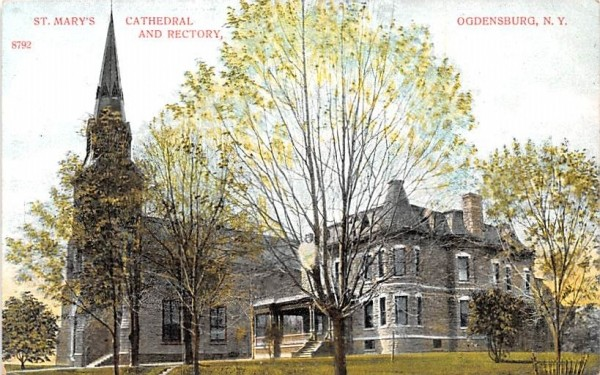St. Mary's Cathedral & Rectory Ogdensburg, New York Postcard