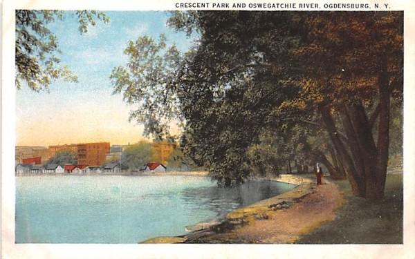 Crescent Park & Oswegatchie River Ogdensburg, New York Postcard