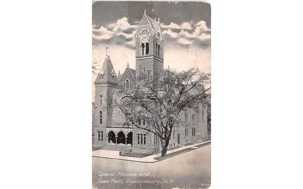 Opera House & Town Hall Ogdensburg, New York Postcard
