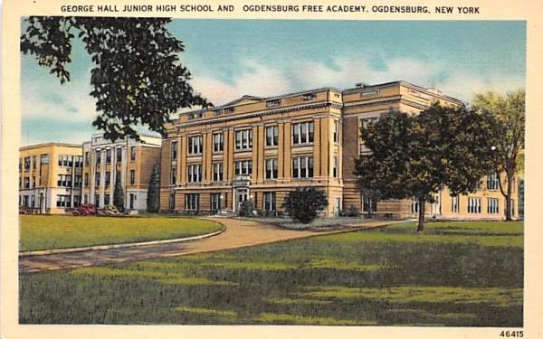 George Hall Junior High School Ogdensburg, New York Postcard