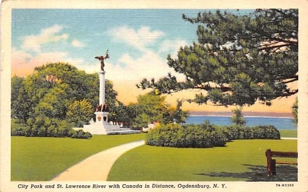 City Park & St Lawrence River Ogdensburg, New York Postcard