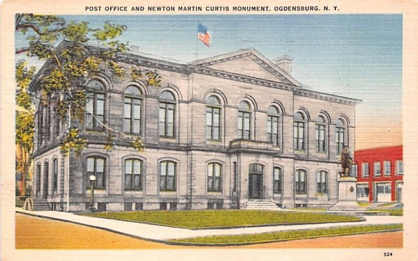 Post Office & Newton Martin Curtis Monument Ogdensburg, New York Postcard