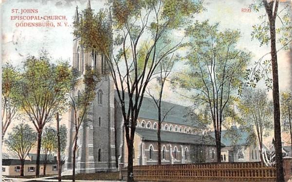 St Johns Episcopal Church Ogdensburg, New York Postcard