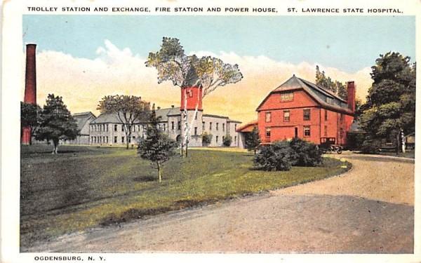 Trolley Station & Exchange Ogdensburg, New York Postcard