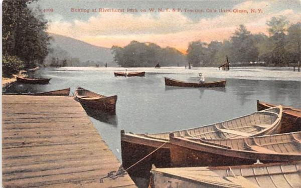 Boating at Riverhurst Park Olean, New York Postcard
