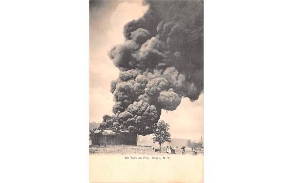 Oil Tank on Fire Olean, New York Postcard