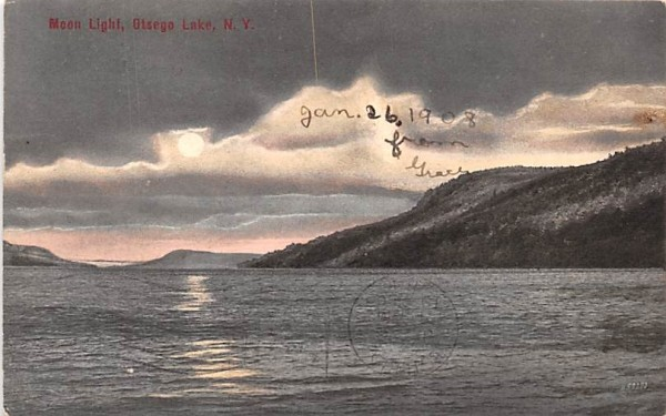 Moon Light Otsego Lake, New York Postcard