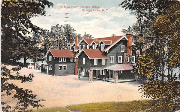 Five Mile Point Inn & Drive Otsego Lake, New York Postcard