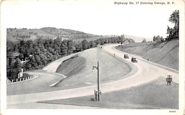 Highway No 17 Owego, New York Postcard