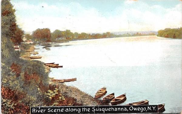River Scene Owego, New York Postcard