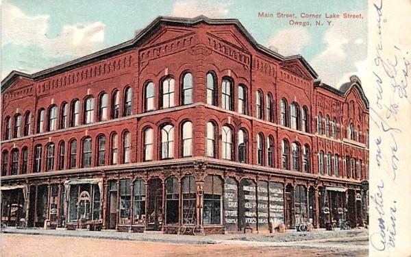 Main Street Owego, New York Postcard