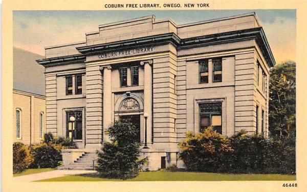 Coburn Free Library Owego, New York Postcard