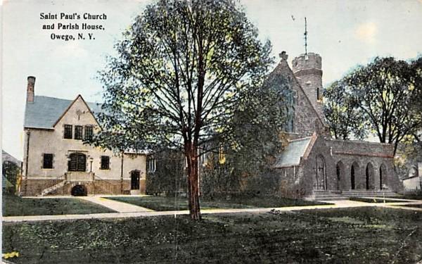 Sain Paul's Church & Parish House Owego, New York Postcard