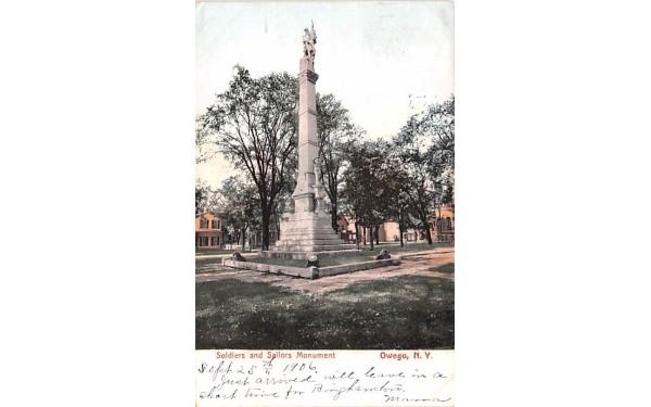 Soldiers & Sailors Monument Owego, New York Postcard
