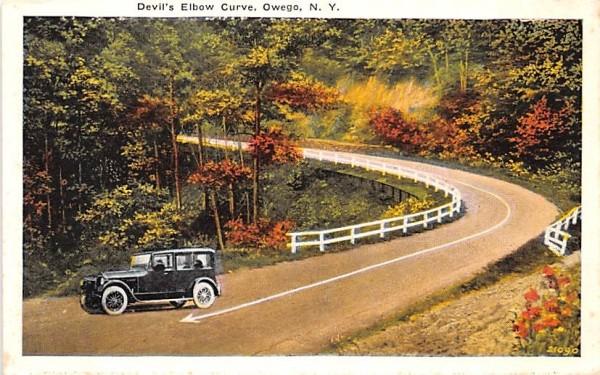 Devil's Elbow Curve Owego, New York Postcard