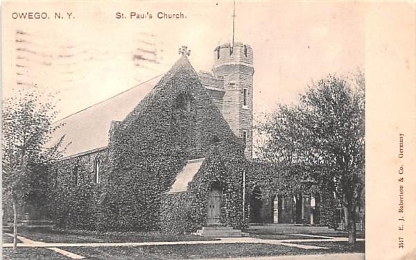 St Paul's Church Owego, New York Postcard
