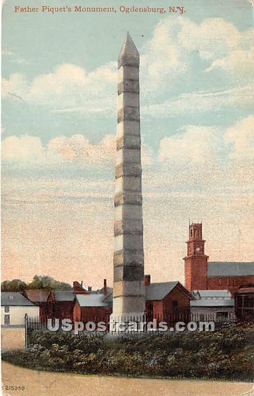 Father Piqet's Monument - Ogdensburg, New York NY Postcard