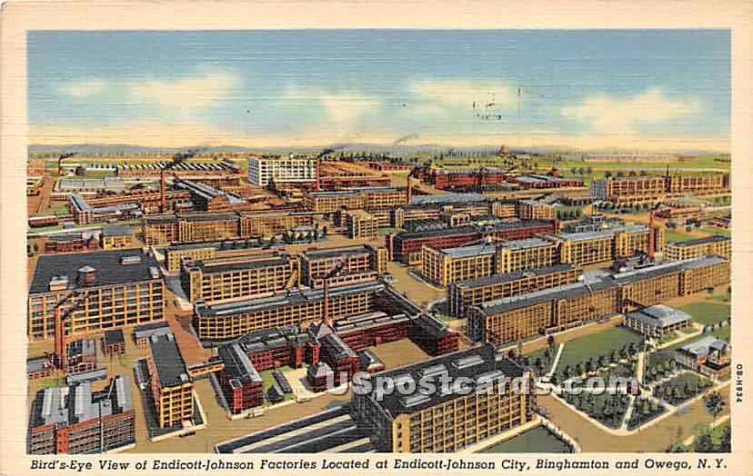 Endicott Johnson Factories - Owego, New York NY Postcard
