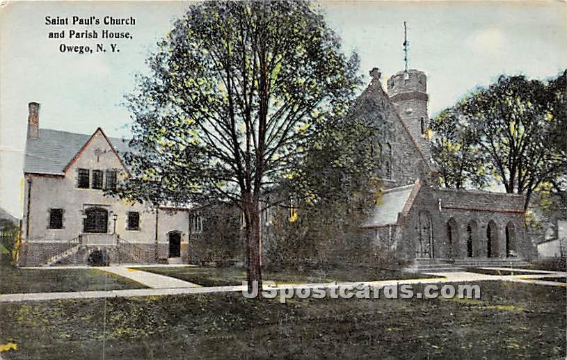 Saint Paul's Church & Parish House - Owego, New York NY Postcard