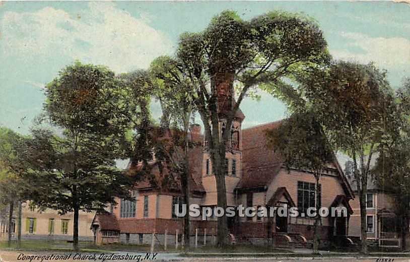 Congregational Church - Ogdensburg, New York NY Postcard