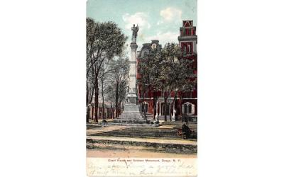 Court House & Soldiers Monument Owego, New York Postcard