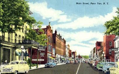 Main Street - Penn Yan, New York NY Postcard