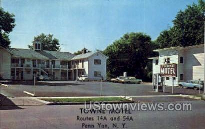 Towne Motel - Penn Yan, New York NY Postcard