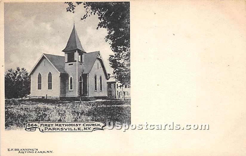 First Methodist Church - Parksville, New York NY Postcard