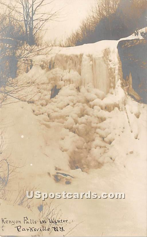 Kenyon Falls in Winter - Parksville, New York NY Postcard