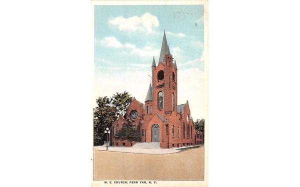 ME Church Penn Yan, New York Postcard