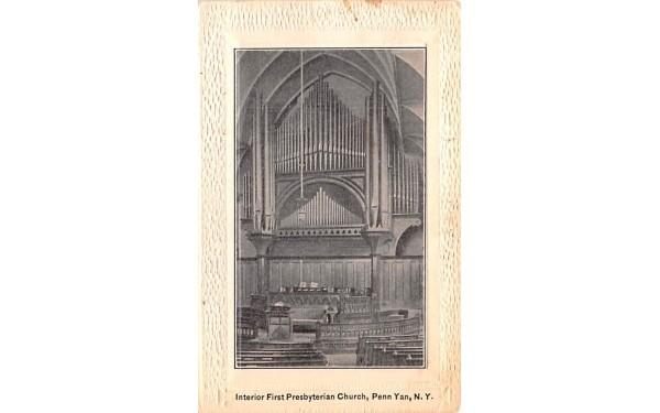 Interior First Presbyterian Church Penn Yan, New York Postcard