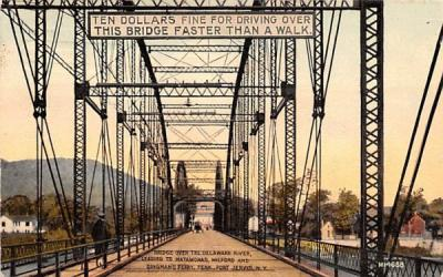 Bridge over Delaware River Port Jervis, New York Postcard