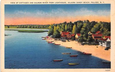 Cottages & Salmon River from Lighthouse Pulaski, New York Postcard