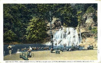 Swimming Pool and Lower Falls - Watkins Glen, New York NY Postcard