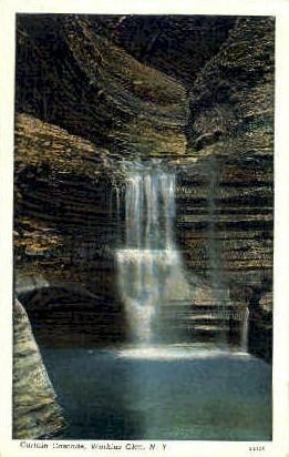 Curtain Cascade - Watkins Glen, New York NY Postcard