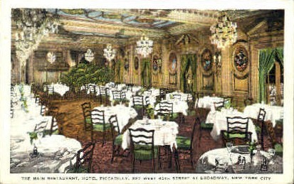 The Main Restaurant, Hotel Piccadilly - New York City Postcards, New York NY Postcard