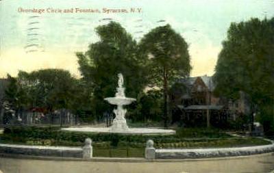 Onondage Circle and Fountain - Syracuse, New York NY Postcard
