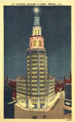 Electric Building at Night - Buffalo, New York NY Postcard